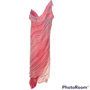 RARE PARTY SLIP DRESS STRIPED ONE SHOULDER STRAP HI LOW SIDE CUT Y2K VINTAGE